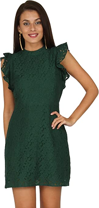 Womens Lace Sheath Silhouette Frill Short Sleeves Dress