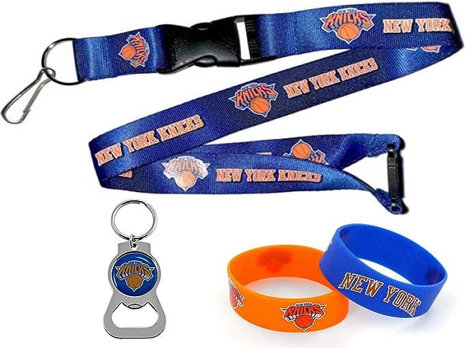 Aminco Nba New York Knicks Team Schlüsselband Flaschenöffner Schlüsselanhänger Und Gummi Armbänder Geschenk Set Sport Freizeit