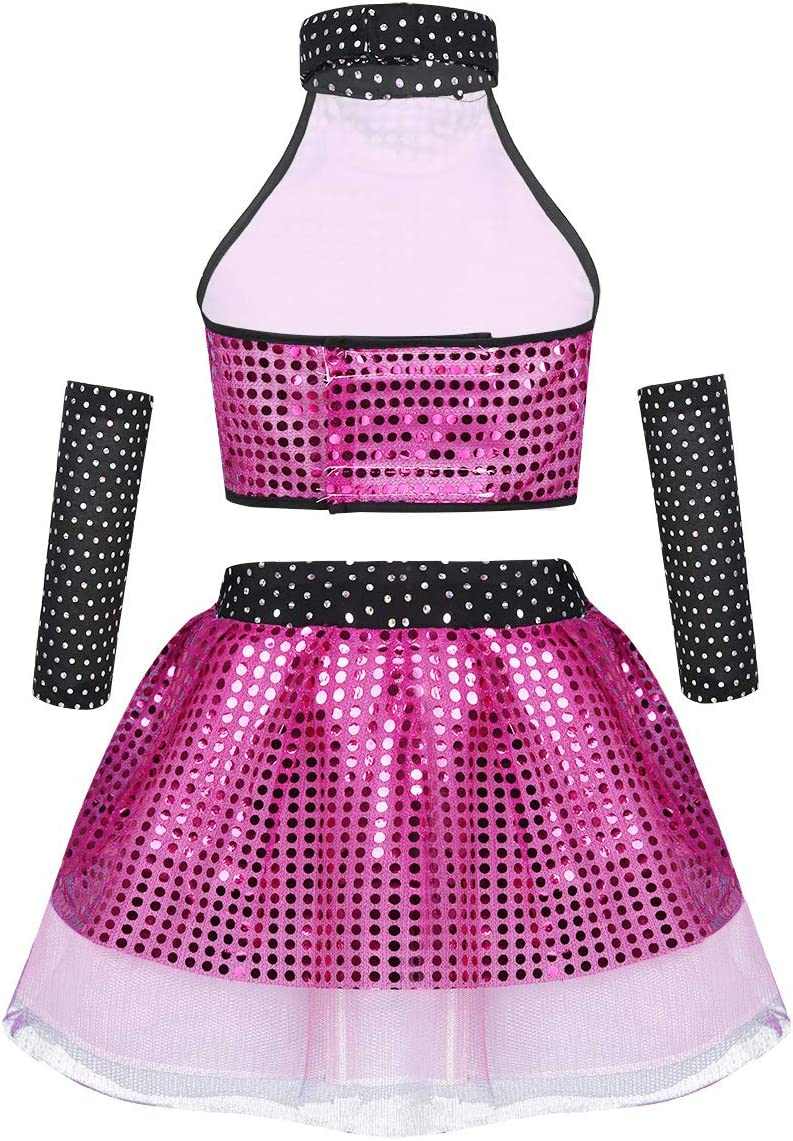 Yeahdor Kids Girls Sequined Jazz Hip Hop Dance Perforamnce Costumes Outfit Crop Top with Tutu Skirts Arm Sleeves Set