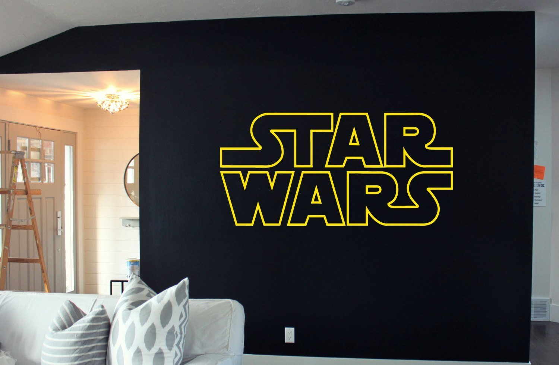 "Star Wars Decal, Star Wars Logo Decal, Death Star Decal, ATAT Wall Decal, Star Wars Stickers, Storm Trooper Decal, Yoda Decal tr306 (18"" x 40"")"