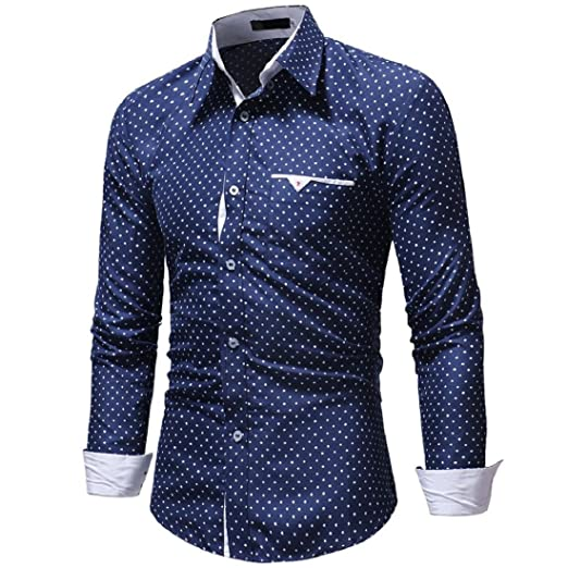5976991ef9 Men's Long Sleeve Dress Shirt Autumn Formal Polka Dot Slim Fit Top Blouse  Shirts (S