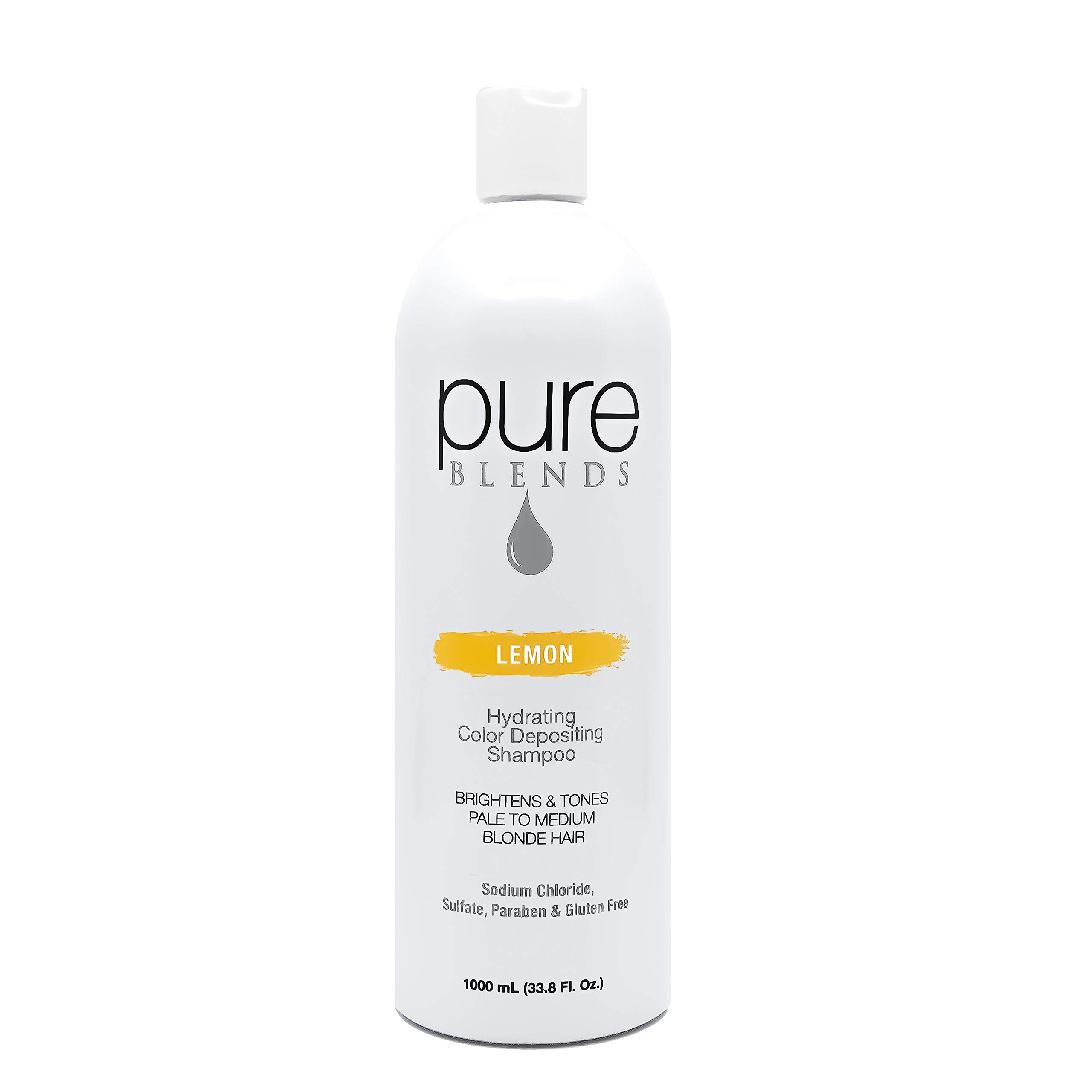 Pure Blends Hydrating Color Depositing Shampoo - Lemon (Pale to Medium Blonde Hair) 33.8 Ounce - Salon Quality by Pure Blends