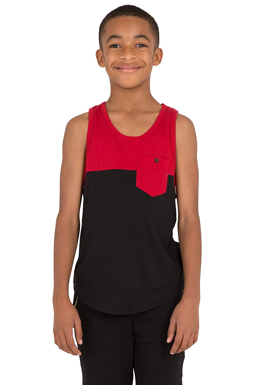 Vibes Boys Jersey Tank Top Color Black /& Red Blocked Chest Pocket Scallop Hem