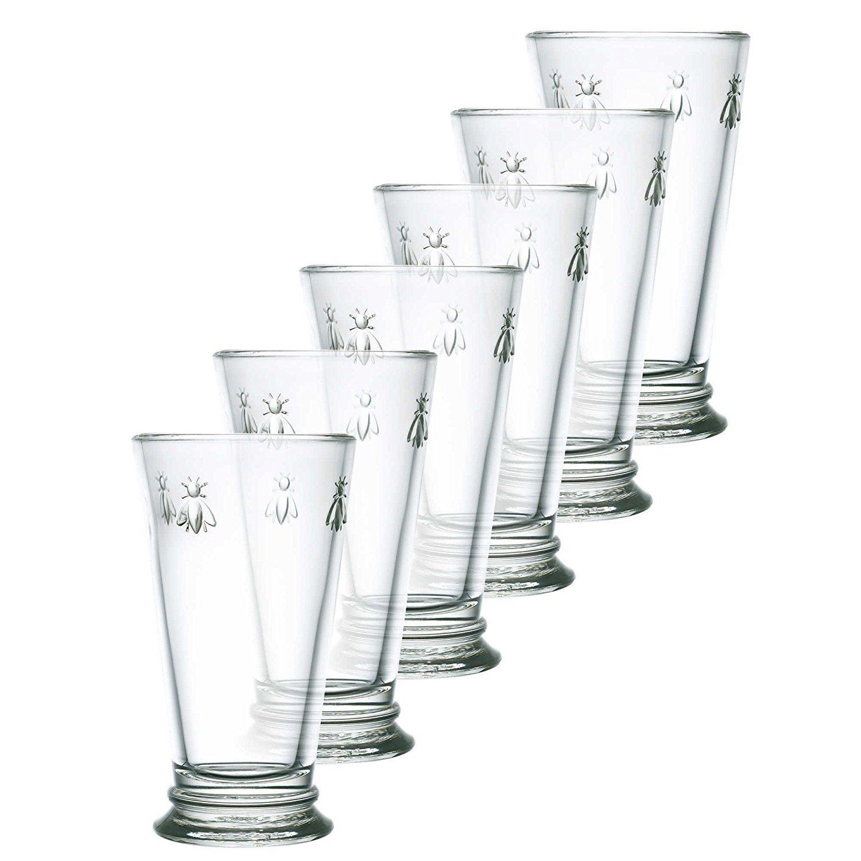 Napoleonic Bee Pattern Tall Drinking Glasses 6.3 Tall - High Ball Set of 6 La Rochere 15.6 Oz Each