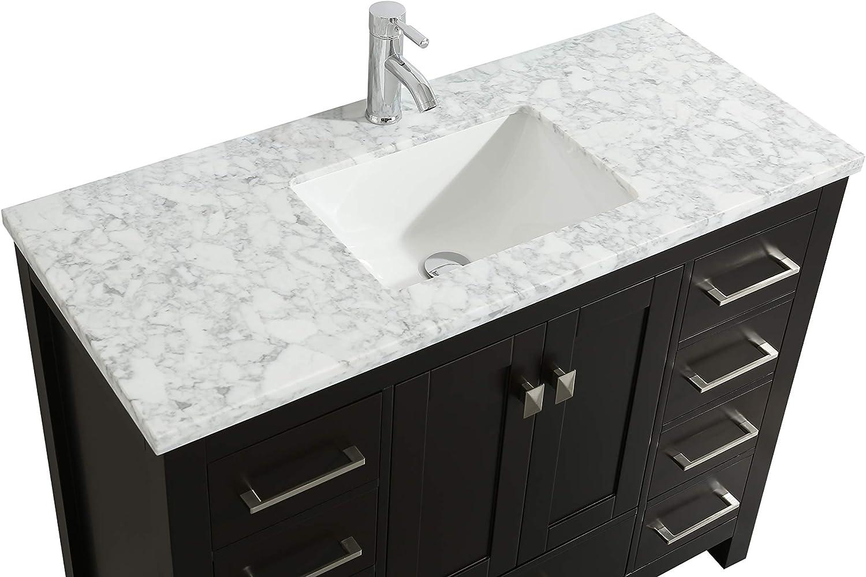 36 Eviva Tvn414 36x18es London 36 X 18 Inch Espresso Transitional White Carrara Marble Countertop And Undermount Porcelain Sink Bathroom Vanities Bathroom Fixtures Bathroom Sink Vanities Accessories