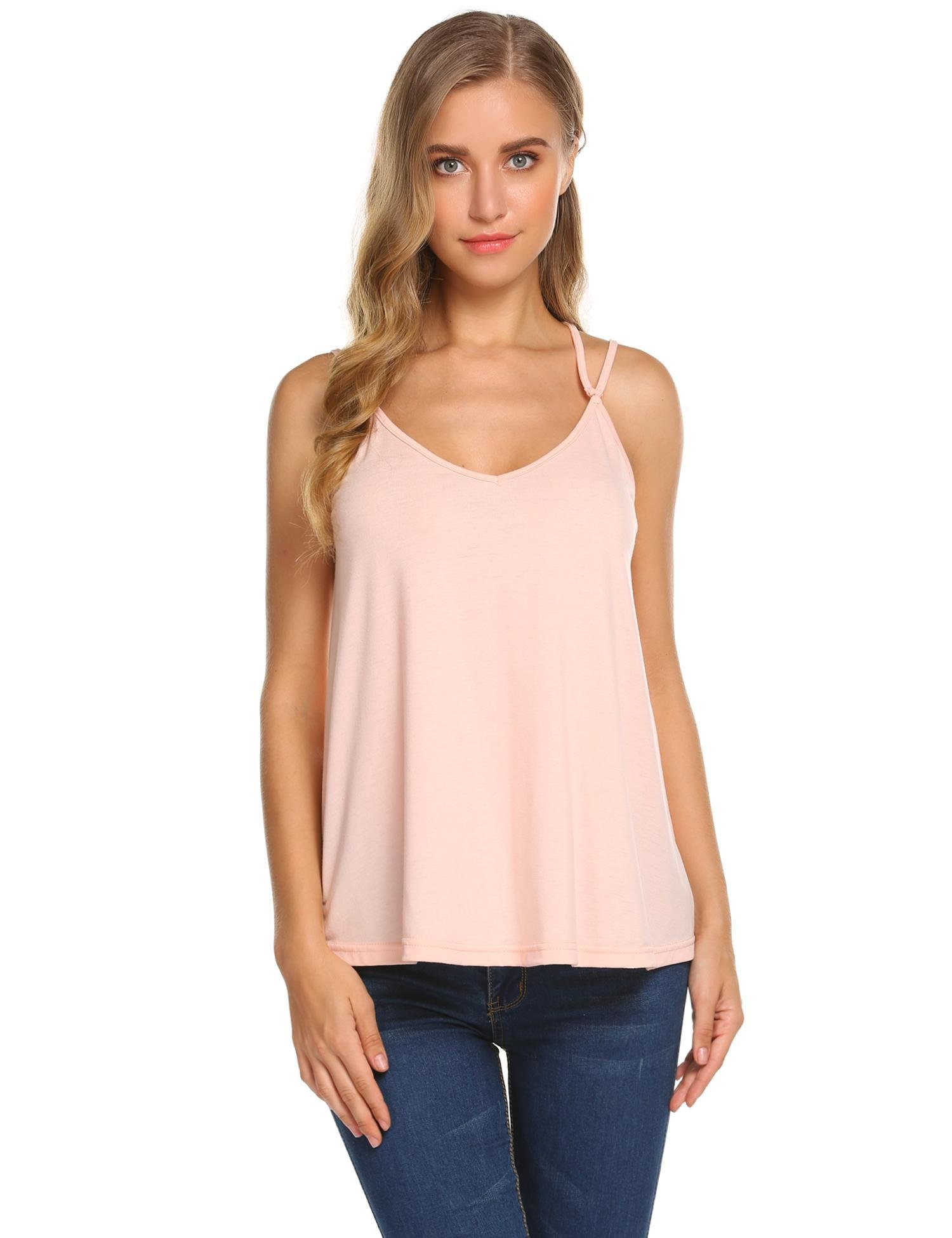Grabsa Women's Casual V-Neck Cross Back Blouse Strappy Sleeveless Tank Shocking Pink M