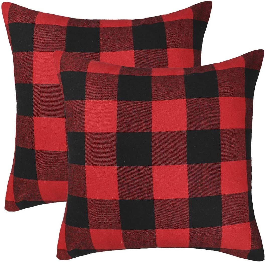 Amazon Com 4th Emotion Set Of 2 Christmas Buffalo Check Plaid Throw Pillow Covers Cushion Case Polyester For Farmhouse Home Decor Red And Black 18 X Inches Kitchen