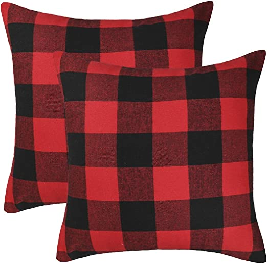 4th Emotion Set Of 2 Christmas Buffalo Check Plaid Throw Pillow Covers Cushion Case Polyester For Farmhouse Home Decor Red And Black 20 X 20 Inches Home Kitchen