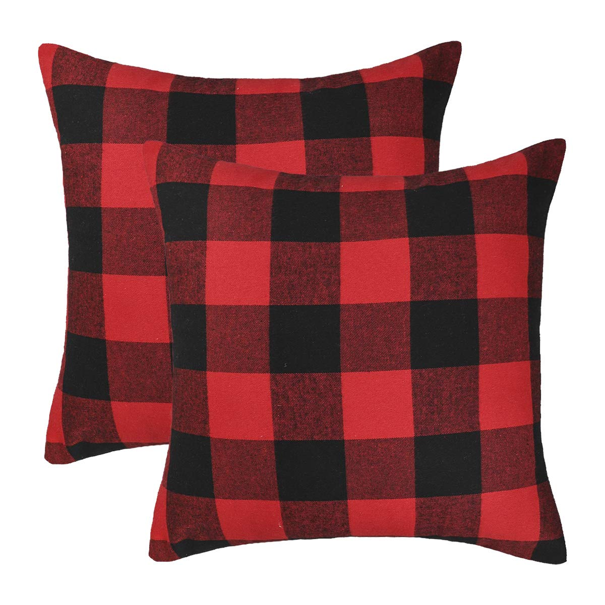 4TH Emotion Set of 2 Christmas Buffalo Check Plaid Throw Pillow Covers Cushion Case Cotton Polyester for Farmhouse Home Decor Red and Black, 18 x 18 Inches