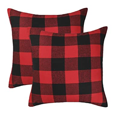 4TH Emotion Set of 2 Christmas Buffalo Check Plaid Throw Pillow Covers Cushion Case Cotton Polyester for Farmhouse Home Decor Red and Black, 16 x 16 Inches