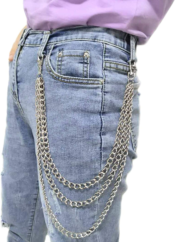 Wallet Chain Pocket Chain Belt Chains Hip Hop Pants Chain Jean Chain Trousers Chain for Men Women ZOYLINK 2PCS Pants Chain 3-Layer Punk Belt Chain