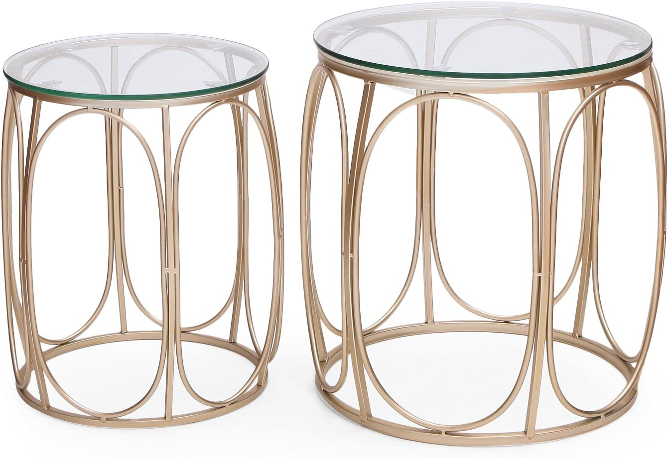 Adeco Round Nesting Accent Side Set of 2-Gold End Tables,: Furniture & Decor
