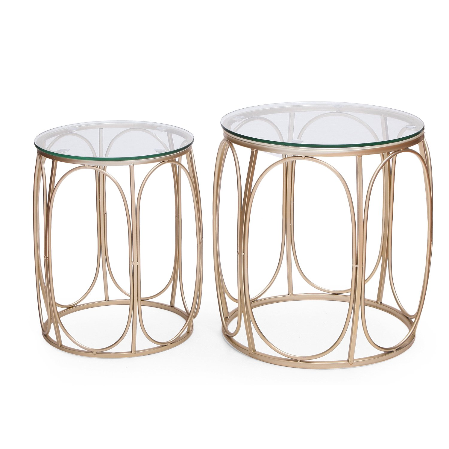 Adeco Round Nesting Accent Side Set of 2-Gold End Tables, by Adeco