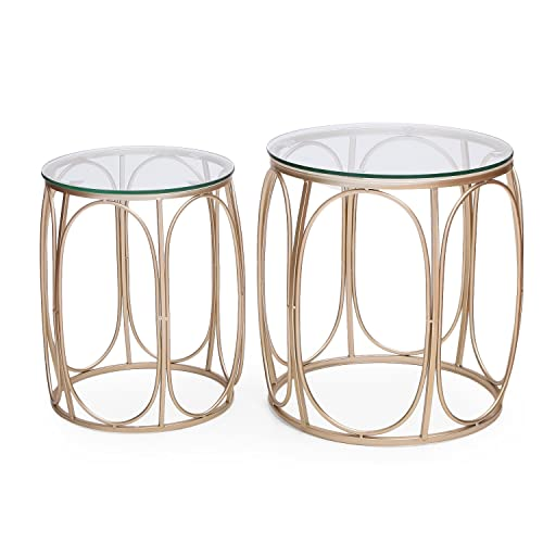 Adeco Classic Nesting Side Table Set 2 Pcs , Gold