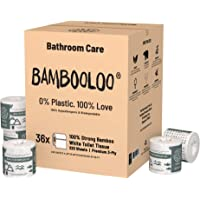 Bambooloo Naturally Sustainable 100% Virgin Bamboo Toilet Rolls: Family Box of 36 Individually Wrapped Rolls