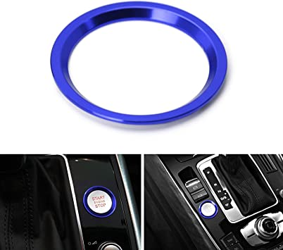iJDMTOY S-Line RS Style Blue Aluminum Keyless Engine Push Start Button w//Surrounding Ring Trim For Audi A4 A5 A6 A7 A8 Q5 1 etc