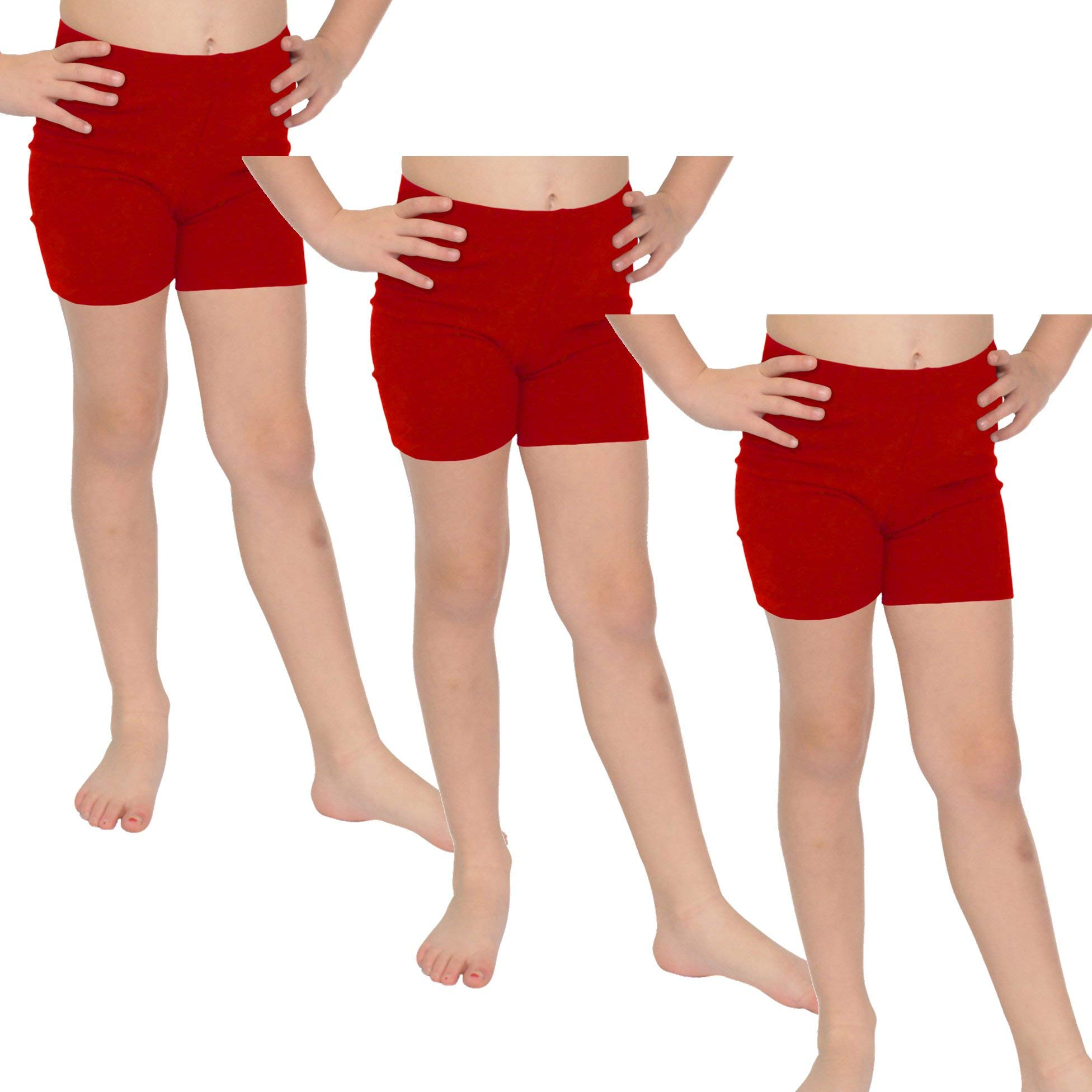 Stretch is Comfort Girl's Cotton Biker Shorts Set of 3 Pieces Red Large by Stretch is Comfort