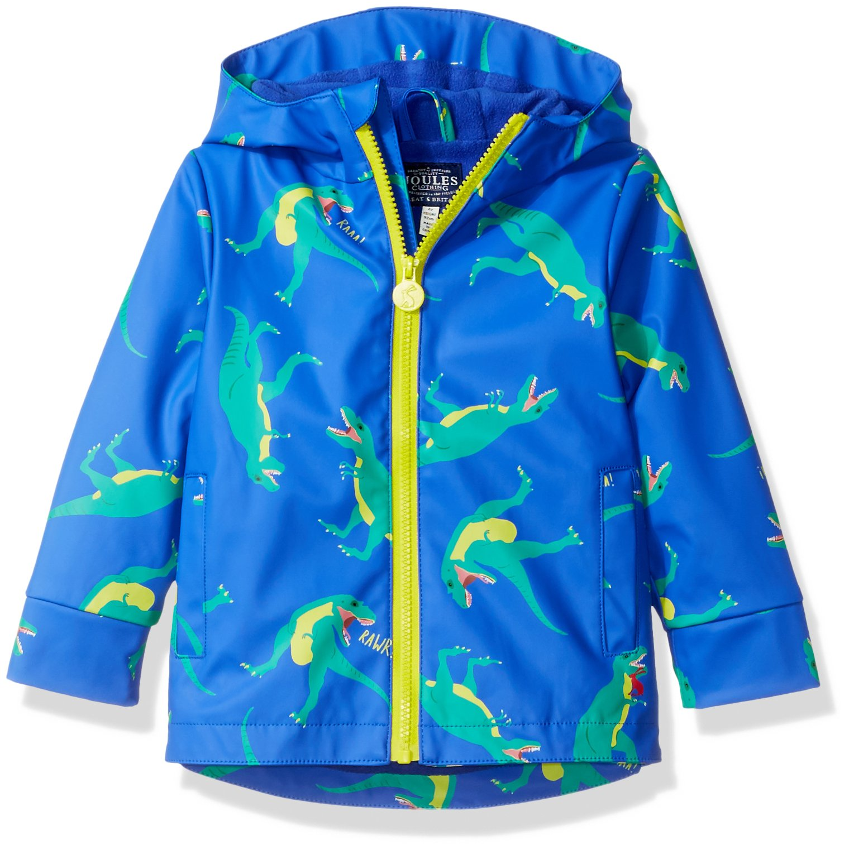 Joules Boys' Little Skipper Rubber Coat, Dazzling Blue Dino, 2