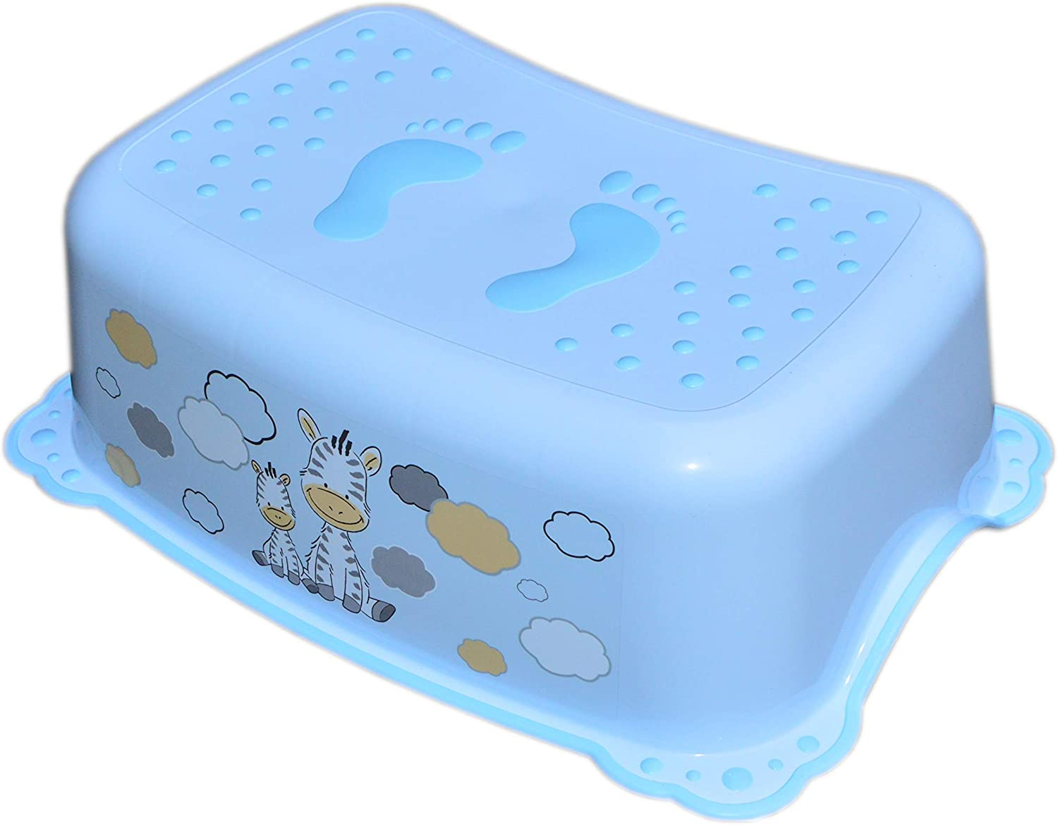 Blue Lightweight Safety Step Height Stool for Baby Kids Toddler for Potty Training Toilet Kitchen Bathroom with Anti-Slip Zebra
