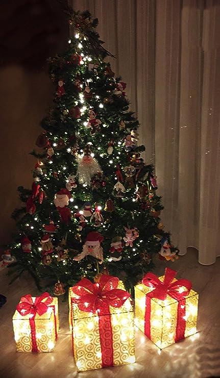Pacchi Natale Luminosi.Pacco Regalo Luminoso A Led Set 3 Pezzi Addobbo Natalizio Color Oro Con Fiocco Rosso