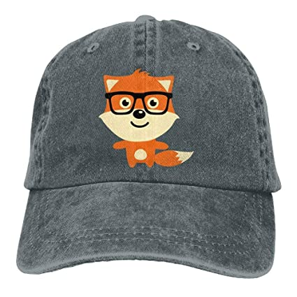 Yuting Gorras béisbol Funny Baby Fox with Glasses Denim Hat Adjustable Women Snapback Baseball Cap
