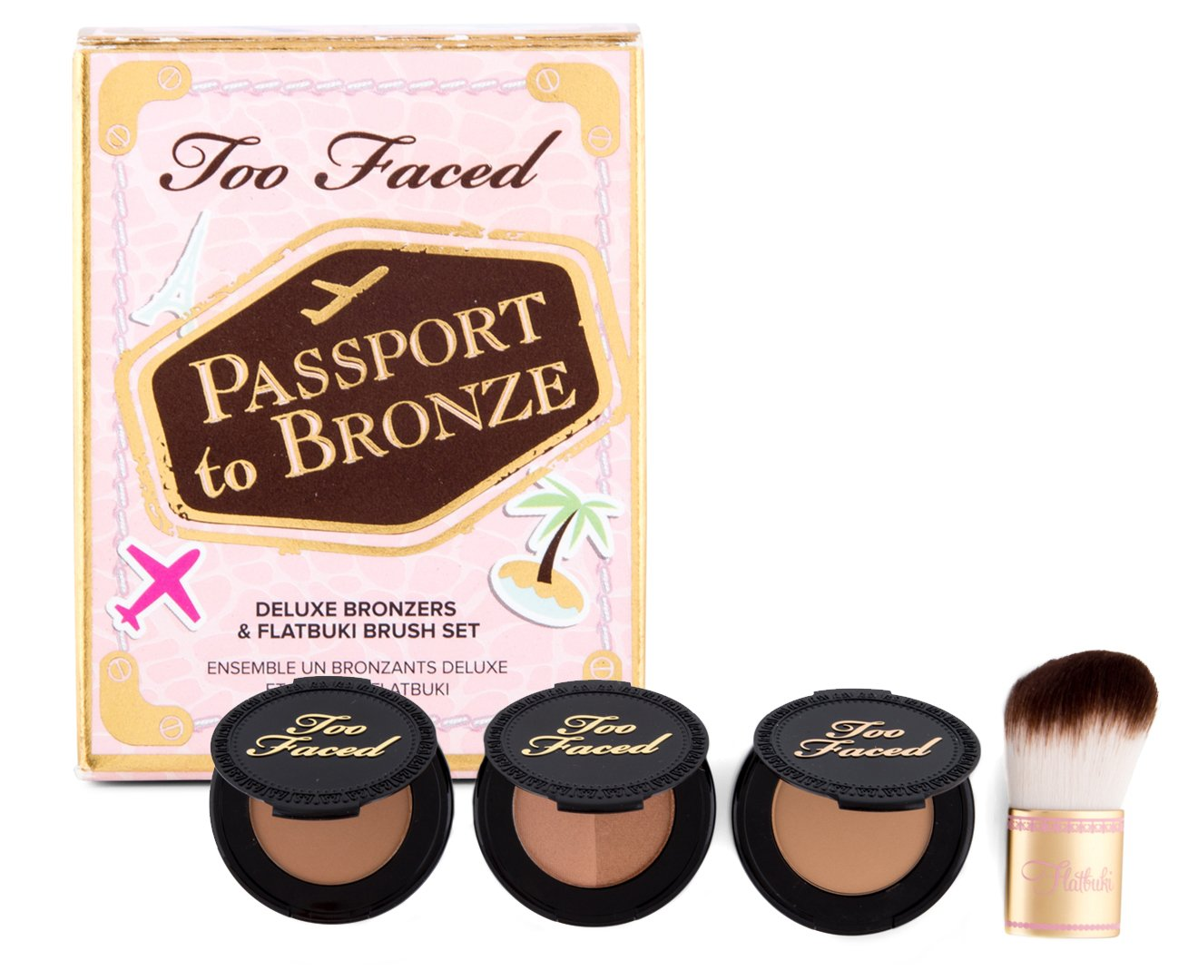 Too Faced Passport To Bronze Featuring Chocolate Soleil, Milk Cocolate Soleil, Sun Bunny & Teddy Bear Flatbuki Brush