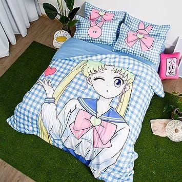 Zhouing Sailor Moon Crystal Bettbezug Set Schöne Blaue Fee