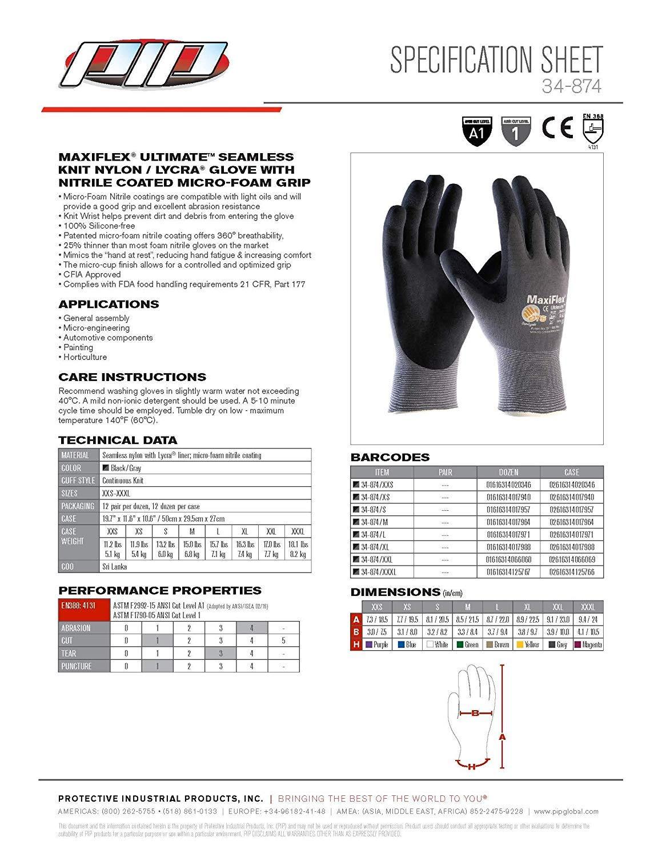 Atg 34 874 Maxiflex Ultimate Nylon Micro Foam Nitrile Grip Gloves Black Gray X Large 12 Pairper Pack