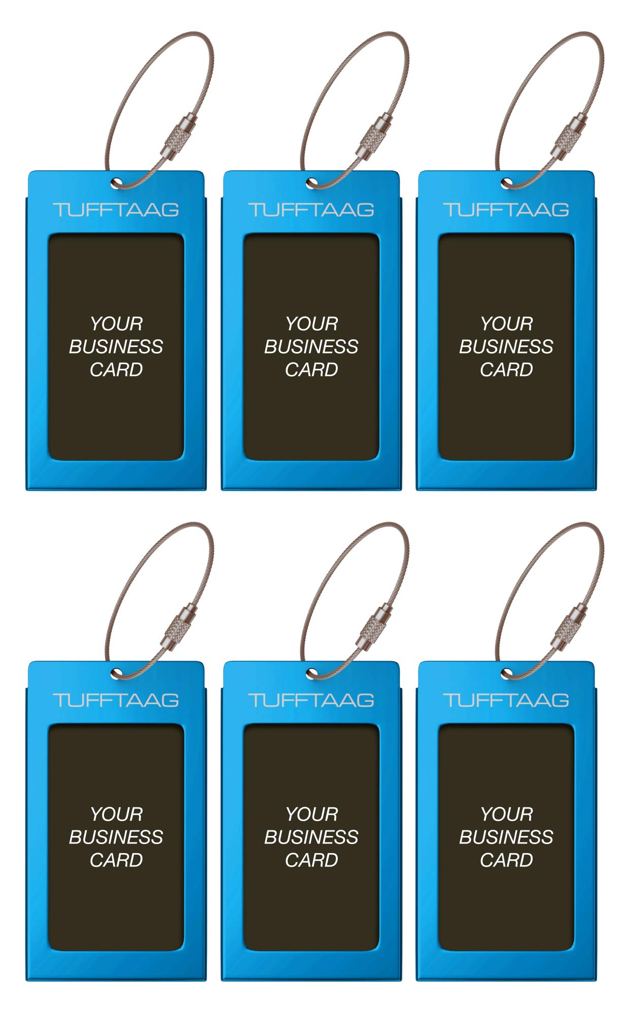 Luggage Tags TUFFTAAG for Business Cards, Metal Suitcase Labels, 6 Pack Bundle (6 Blue)