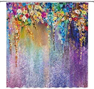 Lileihao Watercolor Flower Shower Curtain ,Abstract Flower Spring Floral Colorful Wisteria Blossoms Romantic Art ,Polyester Waterproof Bathroom Bath Decor Set with Hooks,69 x 70 Inch,Purple,Yellow
