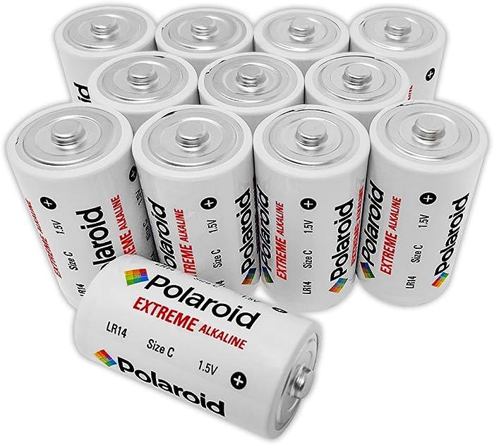 Polaroid Extreme C Cell Size Alkaline Batteries 1.5V LR14 (12-Pack)