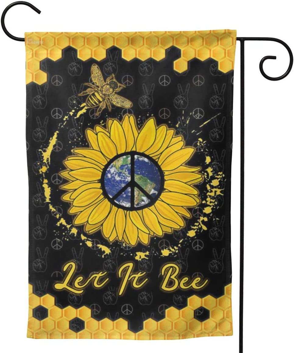 Lplpol Let It Be Hippie Garden Flag, Vertical Double Sided Yard Flag Banner Lawn Outdoor Decoration, 12x18 Inch, 2pa421