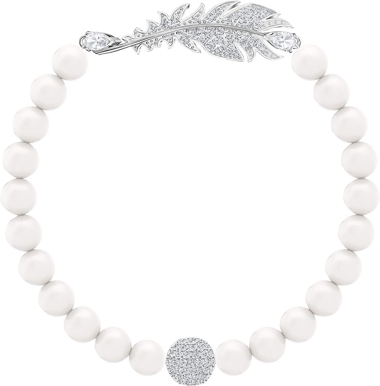 Swarovski Pulsera Nice Pearl, baño de rodio, Cristal Blanco, para Mujer