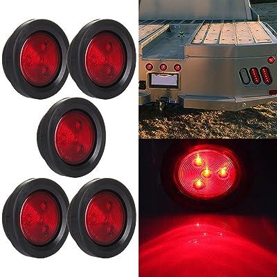 """5 Pcs Red Side Marker Light 2.5"""" Round 4 LED Custom Mini Stop Turn Brake Tail Light Kits: Automotive"""