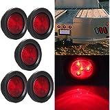 """5 Pcs Red Side Marker Light 2.5"""" Round 4 LED Custom Mini Stop Turn Brake Tail Light Kits"""