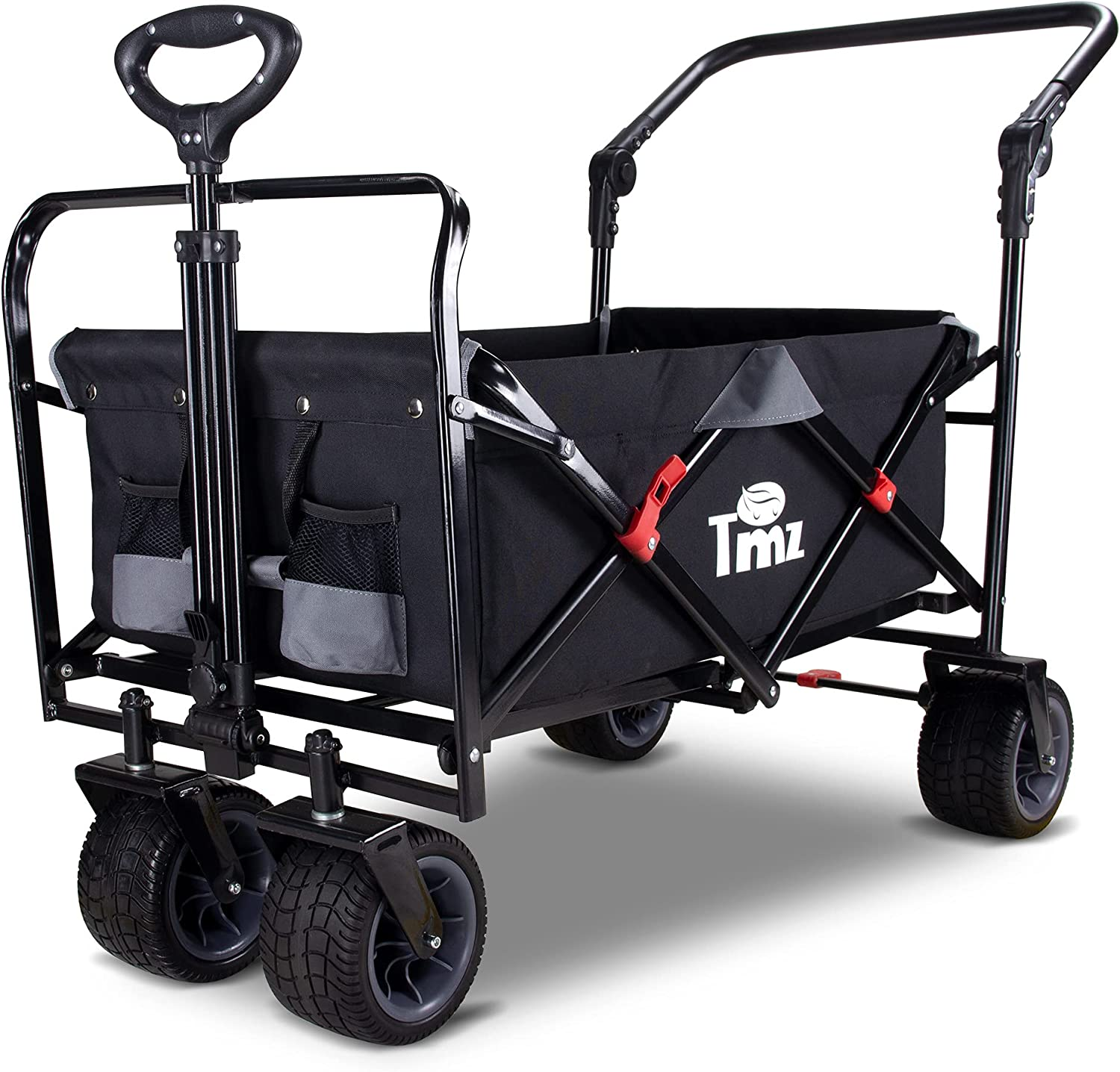 TMZ All Terrain Utility Folding Wagon, Collapsible Garden Cart, Heavy Duty Beach Wagon, for Shopping, Camping, and Outdoor Activities with Push Handle and Brakes (Black/Grey)