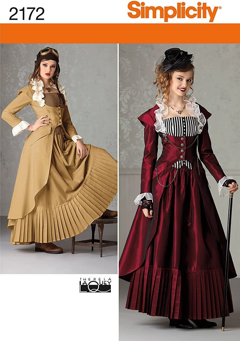 Simplicity Victorian and Steampunk Fitted Dress Costume Sewing Pattern, Sizes 6-12