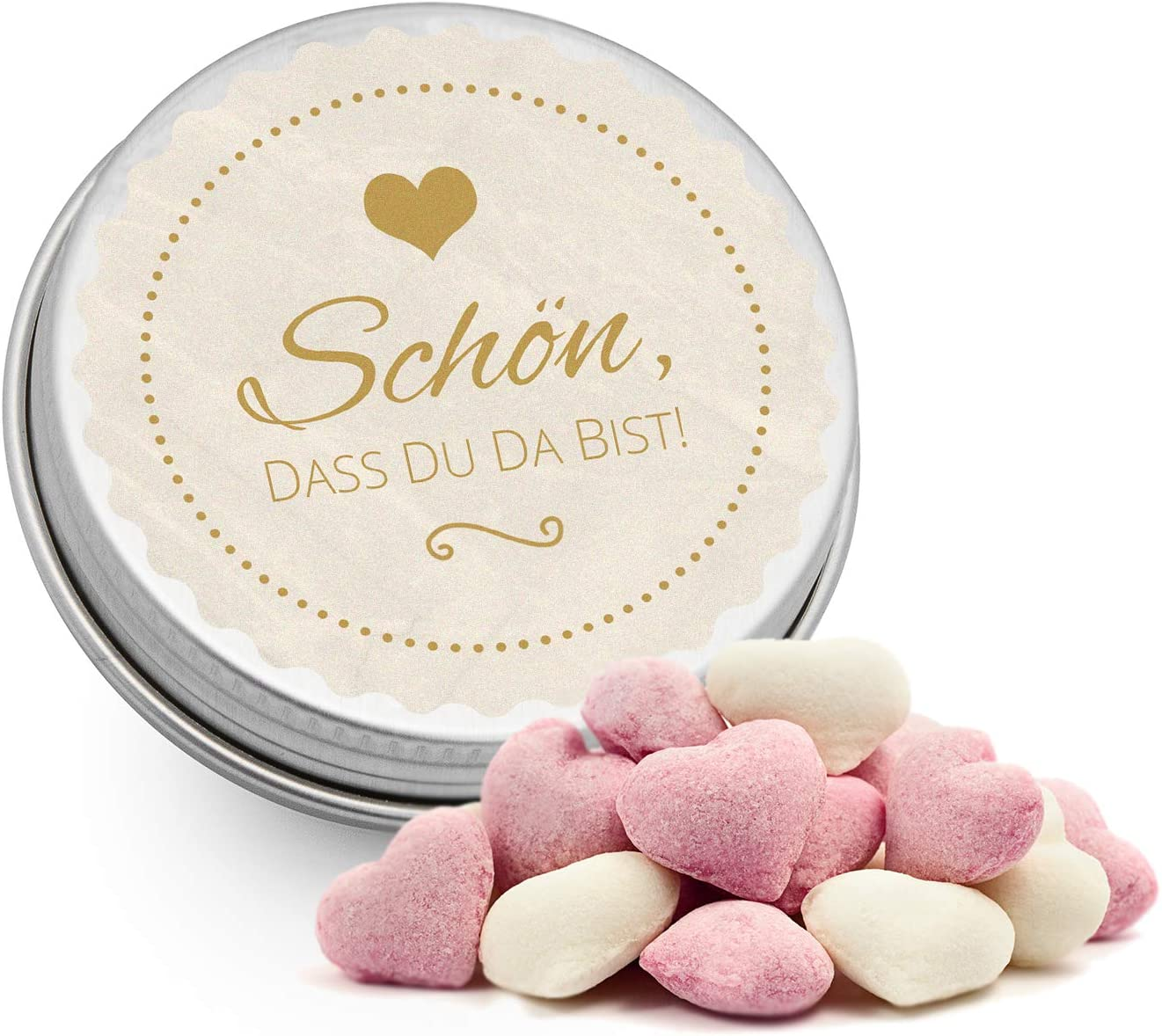 Taufe /& Kommunion Hochzeit DeinBonbon 20x Gastgeschenk Mini Dose DIY S/ü/ßigkeiten und Stickerbogen Geburtstag Altrosa, Cassis Herzen Fruchtsaft Gummis