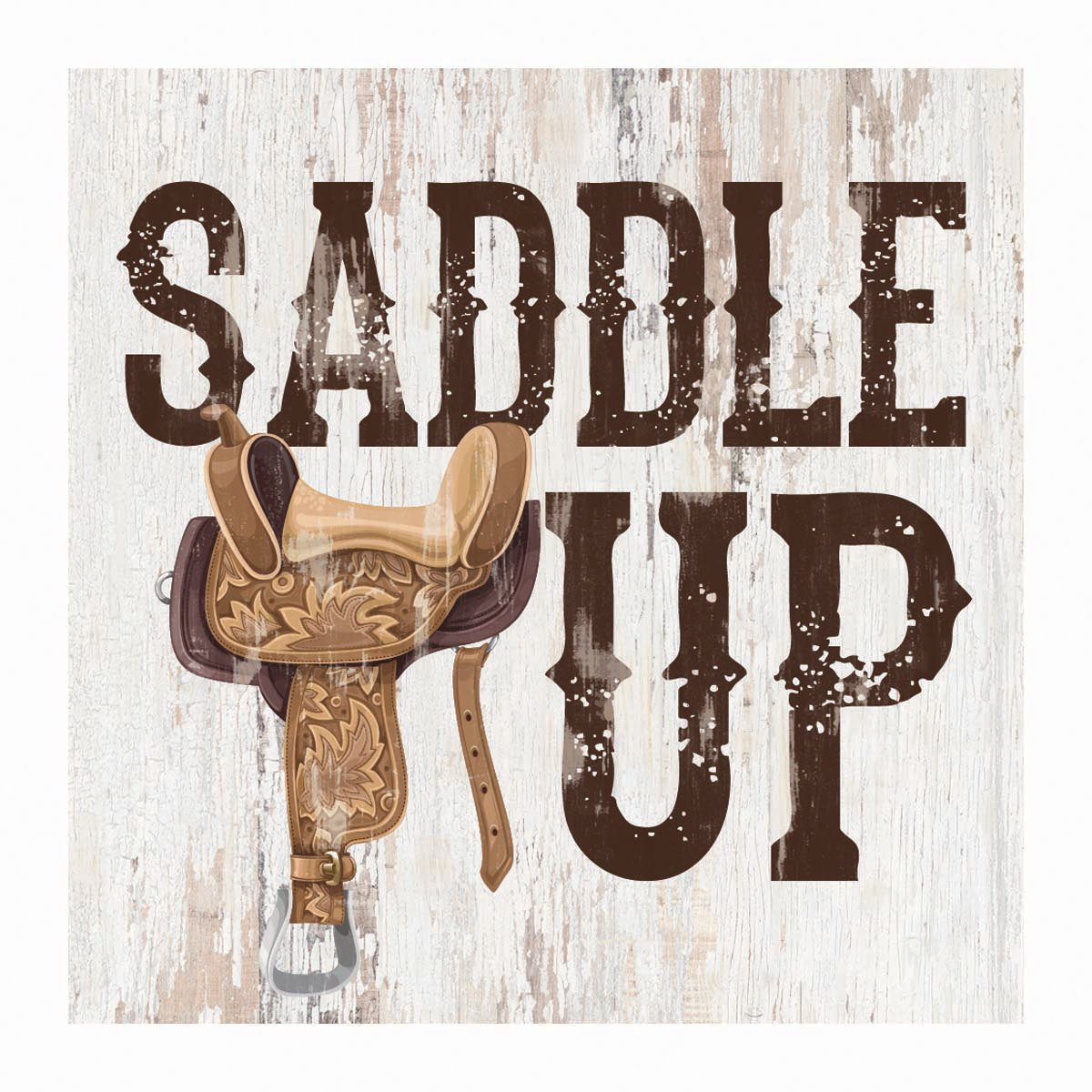 P Graham Dunn Saddle Up Rustic Whitewash 3.5 x 3.5 Inch Pine Wood Tabletop Block Sign