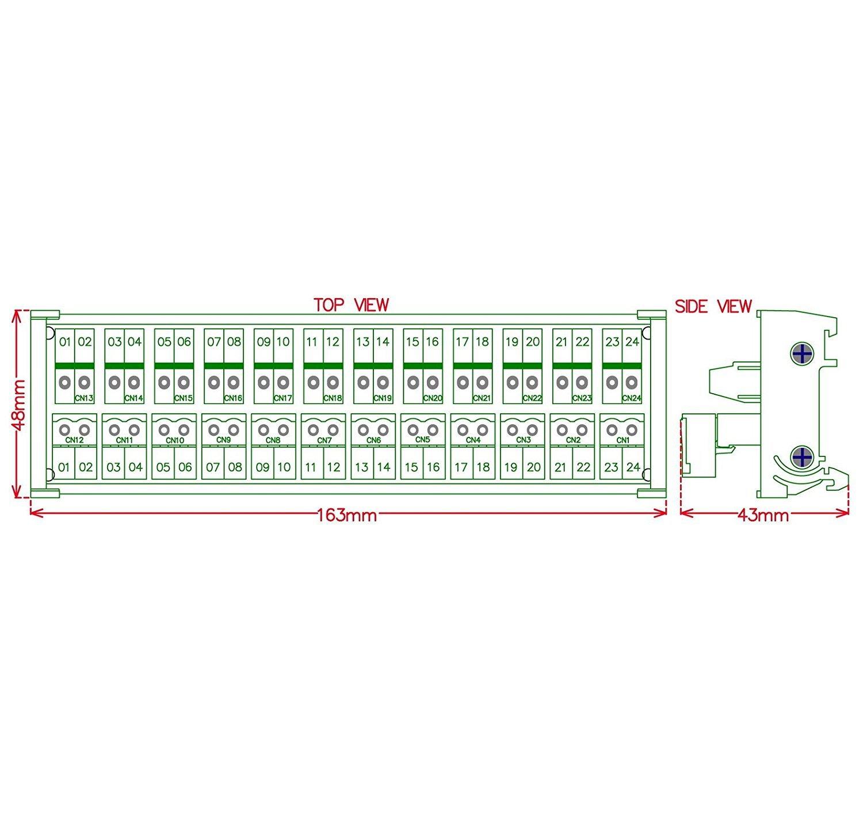 Dessus de fils SE connecte Electronics-salon DIN rail mount Pluggable 12/x 2/position 15/A//300/V Vis bornier de distribution module.