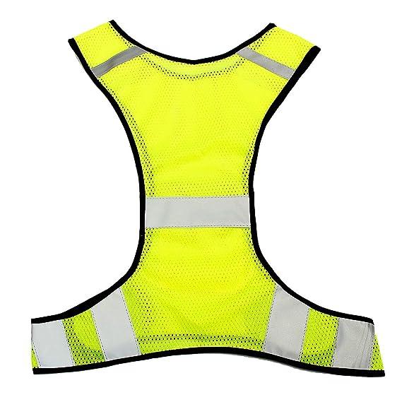 King do way - Chaleco reflectante ajustable - Chaquetas reflectantes alta visibilidad para trabajo nocturno - Amarillo fluorescente - Dimensiones: 47 x 55 ...