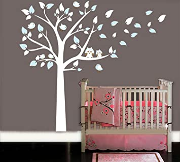 MAFENT Two Cute Owls Standing Large White Tree Wall Sticker Baby Nursery  Bedroom Wall Art Decor Part 46
