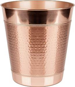 "nu steel Copper Hudson Decoration Collection Wastebasket Small Round Vintage Trash Can for Bathroom, Bedroom, Dorm, College, Office, 10"" X 10"" X 10.8"", Hammered Finish"
