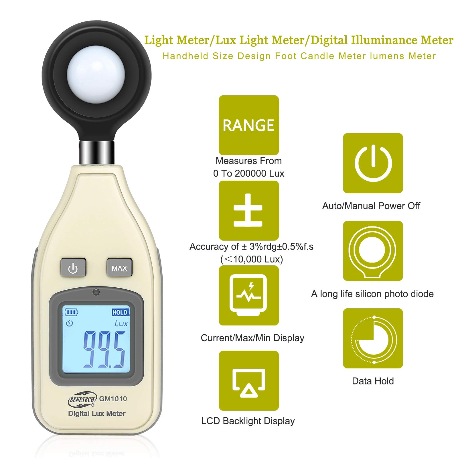 Light Meter Digital Illuminance Meter Measure Light 0~200,000 Lux (0~18500 FC) Handheld Foot Candle Meter Luxmeter MAX/MIN/Data Hold Backlight LCD Display lumens Meter for Plant led Light Auto shutoff by Wrea