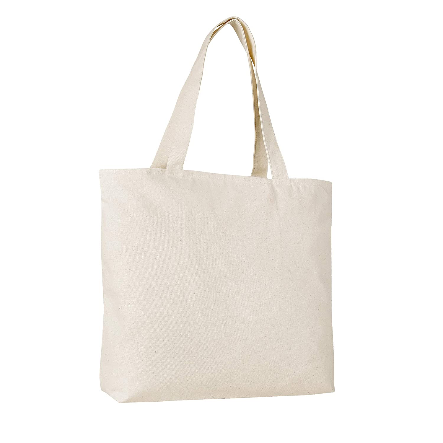 e2b905832acfa Large Durable Canvas Blank Tote Bags Bulk - Grocery Canvas Bags with Zipper  top Zipper Inside Pocket and Long Handles -TG261 (6, Natural)