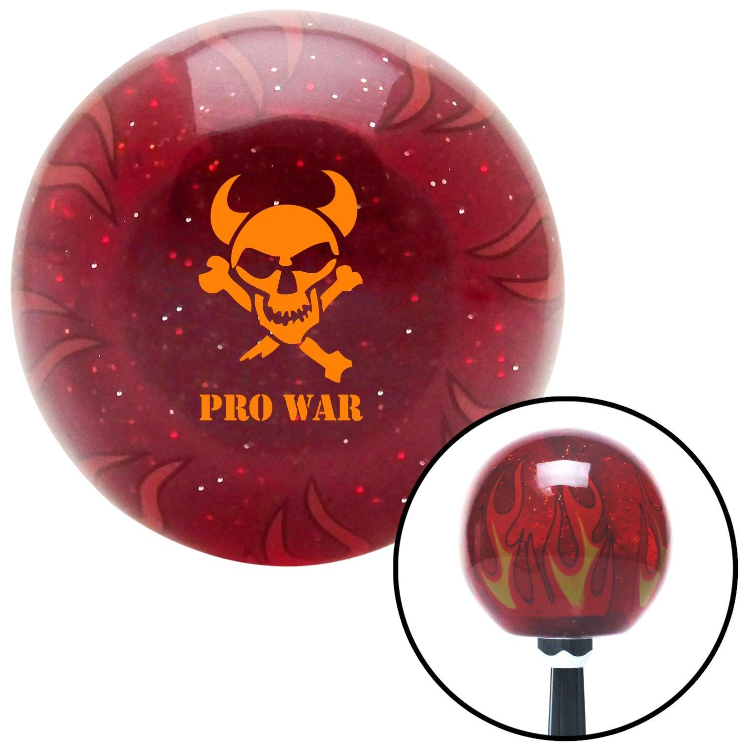 Orange Skull 7 American Shifter 243404 Red Flame Metal Flake Shift Knob with M16 x 1.5 Insert