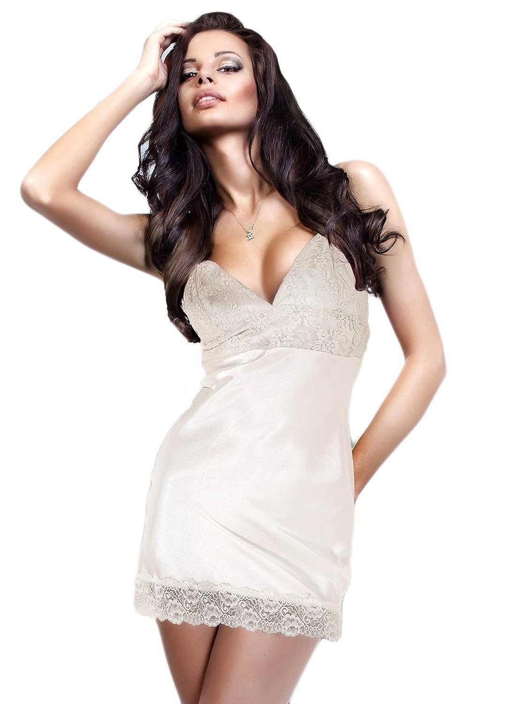 2bdbb50a4 miorre Satin Chemise Babydoll V-Neck Nightgown Lace Nightwear Lingerie  Sleepwear (16-18 (M L)