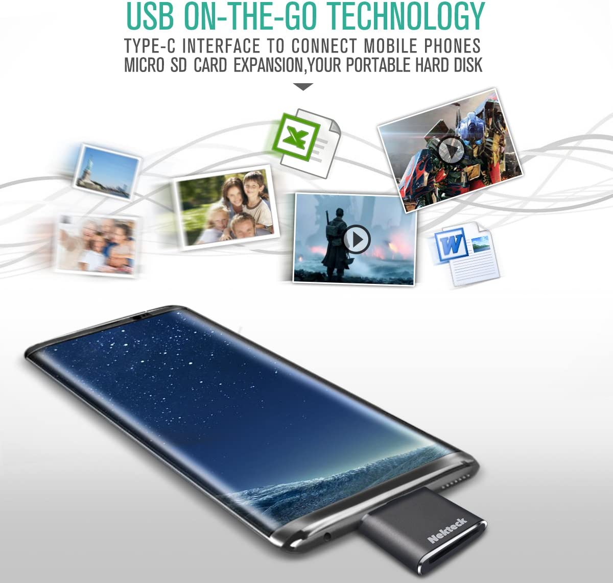 UKCOCO Mobile Phone Card Reader Metal Cellphone Smartphone USB OTG Adapter High Compatibility Memory Card Reader Golden