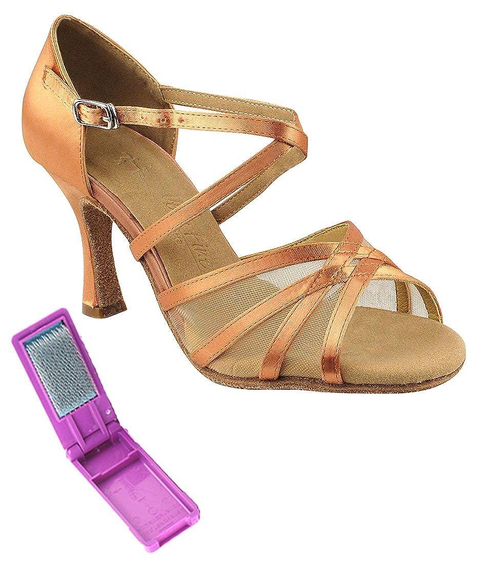 [Very Fine Dance Shoes] レディース B01N3AU4TX Tan Satin & Flesh Mesh 6.5 B(M) US