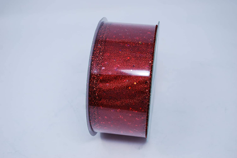 Kirkland Signature Red Sequin Metallic Wire Edge Ribbon 50 Yard Roll 2.5 Wide
